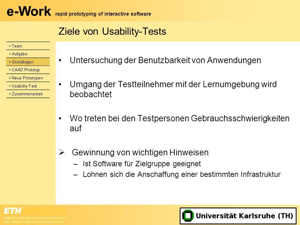 e-Work rapid prototyping of interactive software Ziele von Usability-Tests Untersuchung der Benutzbarkeit von Anwendungen Umgang der Testteilnehmer mi