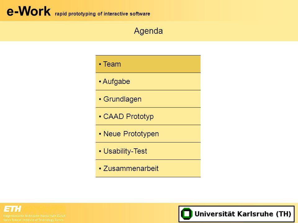 e-Work rapid prototyping of interactive software Zusammenarbeit (2) Endpräsentation in Zürich Informationsaustausch über –Videokonferenzen –Email –Teamspace
