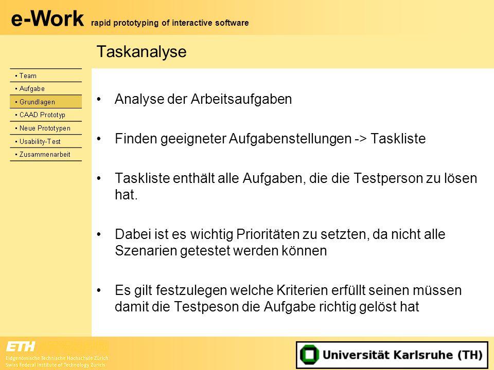 e-Work rapid prototyping of interactive software Taskanalyse Analyse der Arbeitsaufgaben Finden geeigneter Aufgabenstellungen -> Taskliste Taskliste e