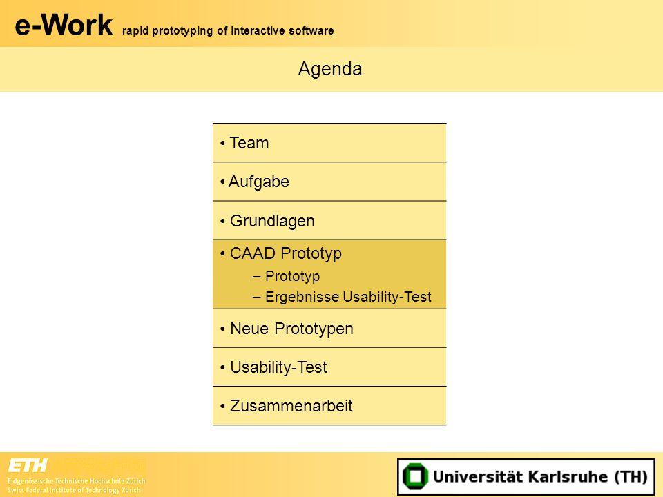 e-Work rapid prototyping of interactive software Agenda Team Aufgabe Grundlagen CAAD Prototyp – Prototyp – Ergebnisse Usability-Test Neue Prototypen U