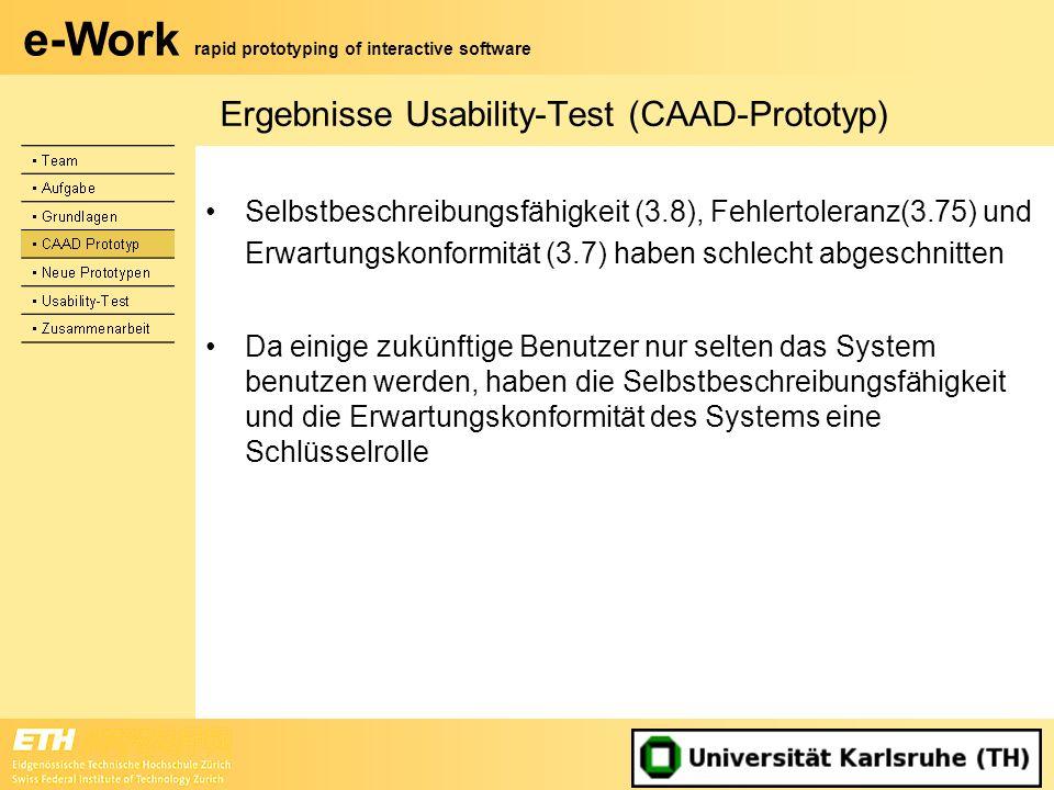 e-Work rapid prototyping of interactive software Ergebnisse Usability-Test (CAAD-Prototyp) Selbstbeschreibungsfähigkeit (3.8), Fehlertoleranz(3.75) un
