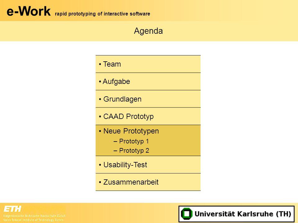 e-Work rapid prototyping of interactive software Agenda Team Aufgabe Grundlagen CAAD Prototyp Neue Prototypen – Prototyp 1 – Prototyp 2 Usability-Test