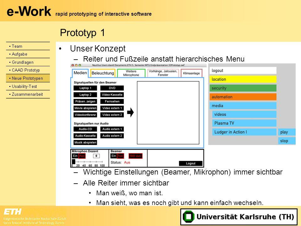 e-Work rapid prototyping of interactive software Unser Konzept –Reiter und Fußzeile anstatt hierarchisches Menu Prototyp 1 –Wichtige Einstellungen (Be