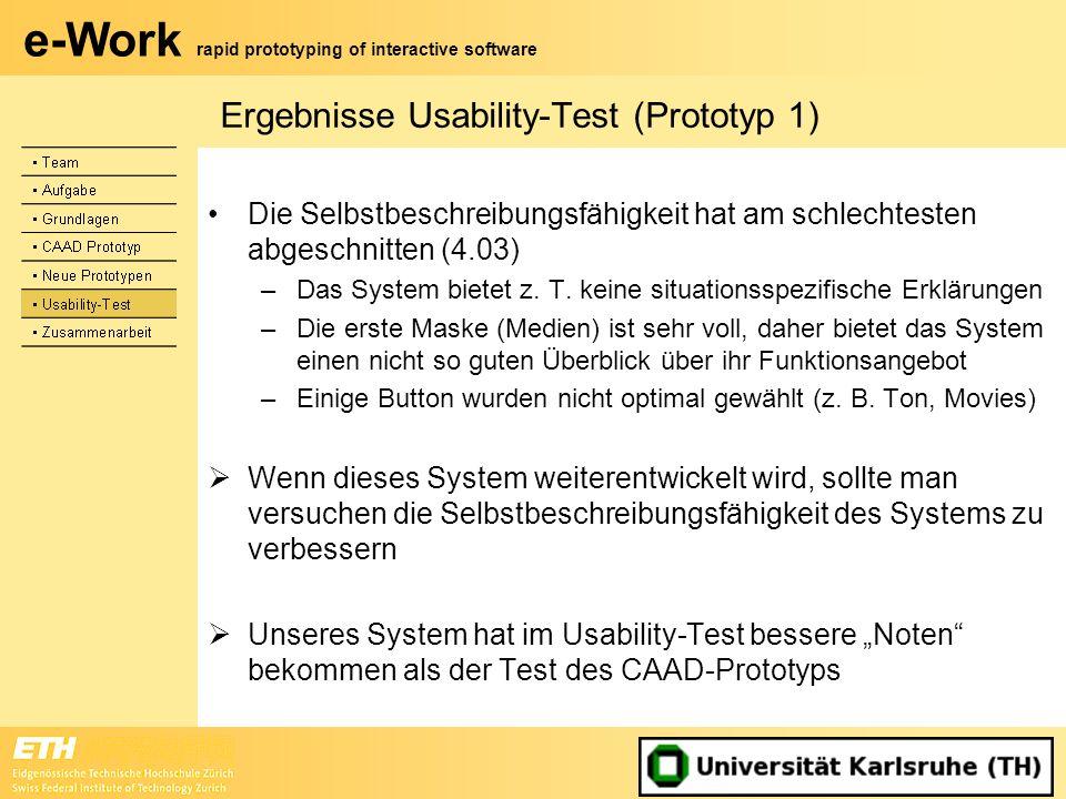e-Work rapid prototyping of interactive software Ergebnisse Usability-Test (Prototyp 1) Die Selbstbeschreibungsfähigkeit hat am schlechtesten abgeschn