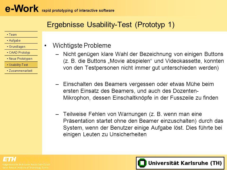 e-Work rapid prototyping of interactive software Ergebnisse Usability-Test (Prototyp 1) Wichtigste Probleme –Nicht genügen klare Wahl der Bezeichnung