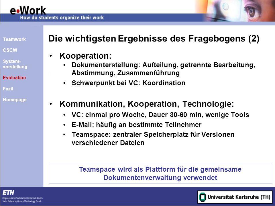 Die wichtigsten Ergebnisse des Fragebogens (2) Kooperation: Dokumenterstellung: Aufteilung, getrennte Bearbeitung, Abstimmung, Zusammenführung Schwerp