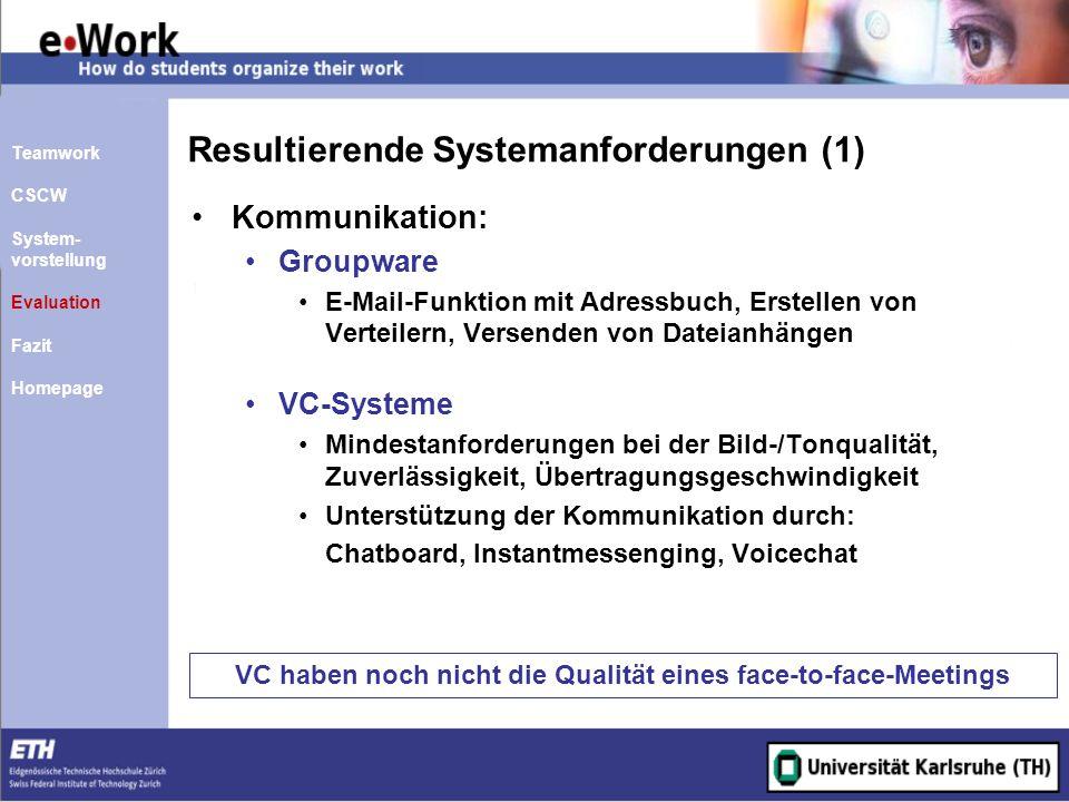 Resultierende Systemanforderungen (1) Kommunikation: Groupware E-Mail-Funktion mit Adressbuch, Erstellen von Verteilern, Versenden von Dateianhängen V