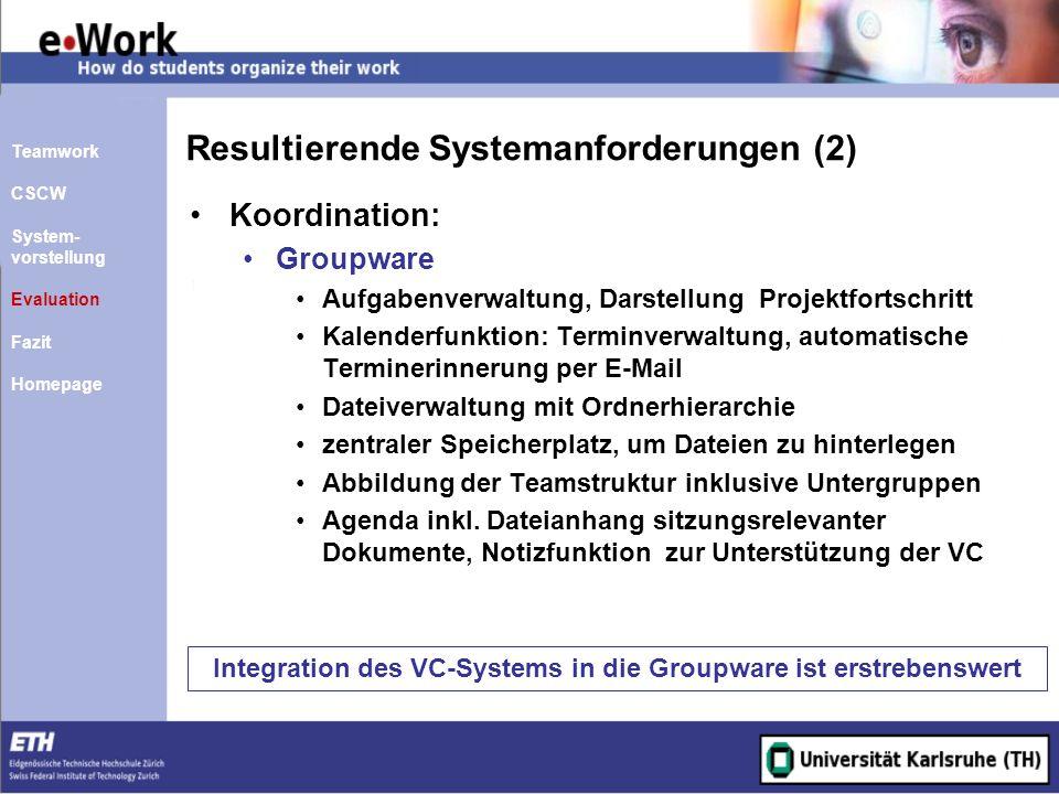 Resultierende Systemanforderungen (2) Koordination: Groupware Aufgabenverwaltung, Darstellung Projektfortschritt Kalenderfunktion: Terminverwaltung, a