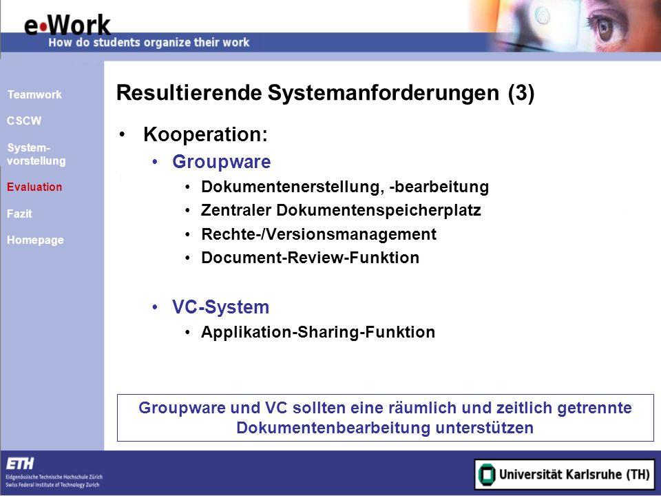 Resultierende Systemanforderungen (3) Kooperation: Groupware Dokumentenerstellung, -bearbeitung Zentraler Dokumentenspeicherplatz Rechte-/Versionsmana