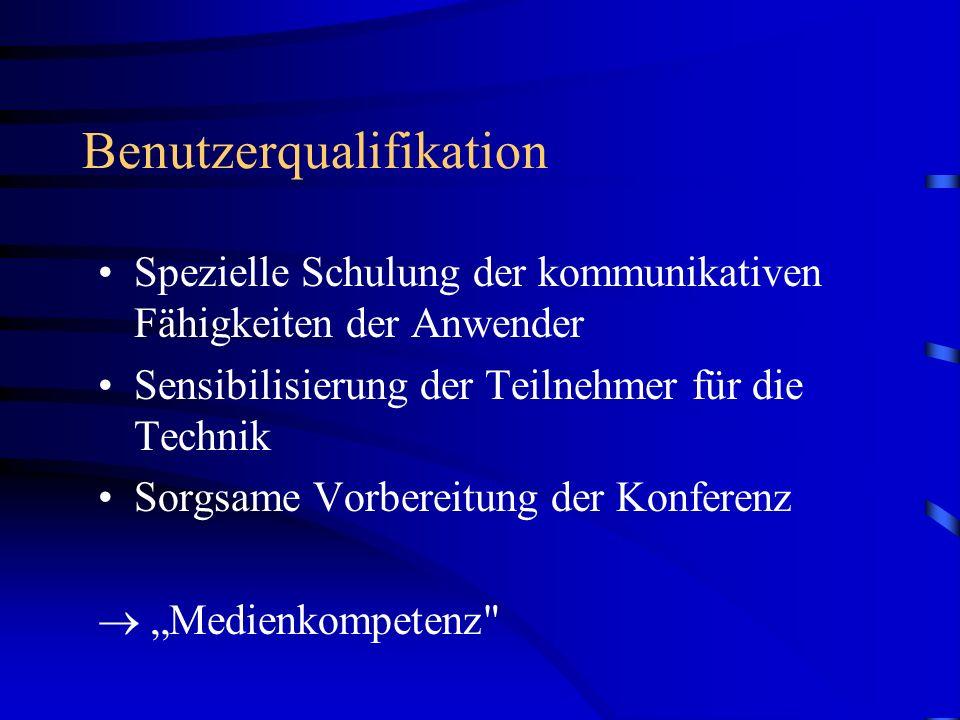Benutzerqualifikation Spezielle Schulung der kommunikativen Fähigkeiten der Anwender Sensibilisierung der Teilnehmer für die Technik Sorgsame Vorbereitung der Konferenz Medienkompetenz