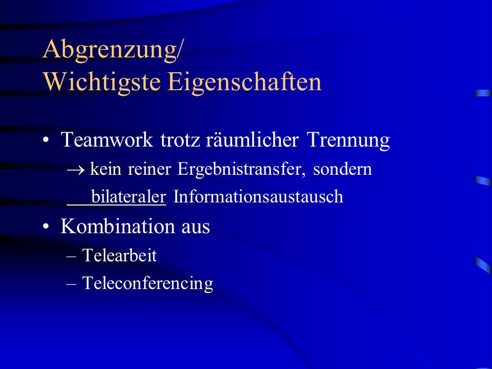 Abgrenzung/ Wichtigste Eigenschaften Teamwork trotz räumlicher Trennung kein reiner Ergebnistransfer, sondern bilateraler Informationsaustausch Kombination aus –Telearbeit –Teleconferencing