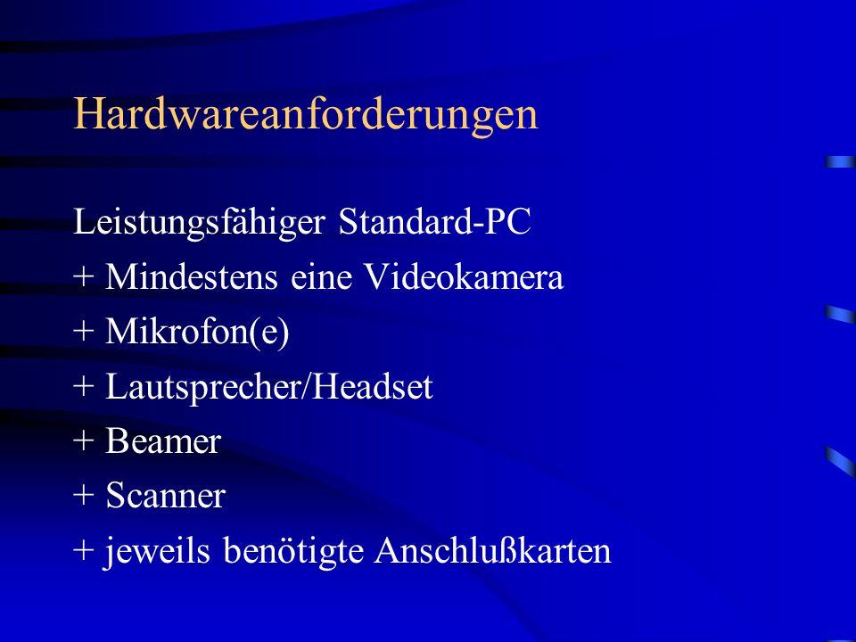 Hardwareanforderungen Leistungsfähiger Standard-PC +Mindestens eine Videokamera +Mikrofon(e) +Lautsprecher/Headset +Beamer +Scanner +jeweils benötigte