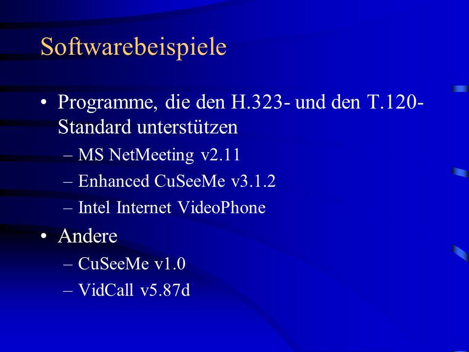 Softwarebeispiele Programme, die den H.323- und den T.120- Standard unterstützen –MS NetMeeting v2.11 –Enhanced CuSeeMe v3.1.2 –Intel Internet VideoPh