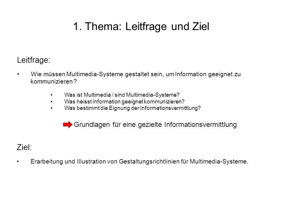1. Thema: Leitfrage und Ziel Leitfrage: Wie müssen -Systeme gestaltet sein, um zu ? Was ist Multimedia / sind Multimedia-Systeme? Was heisst Informati