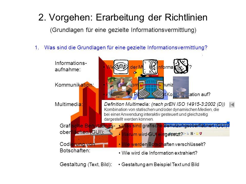 - 2. Vorgehen: Erarbeitung der Richtlinien (Grundlagen für eine gezielte Informationsvermittlung) 1.Was sind die Grundlagen für eine gezielte Informat
