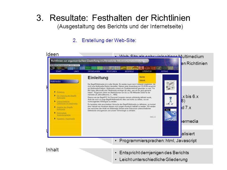 3.Resultate: Festhalten der Richtlinien (Ausgestaltung des Berichts und der Internetseite) Ideen Konzipierung Inhalt Umsetzung Web-Site als sehr viels
