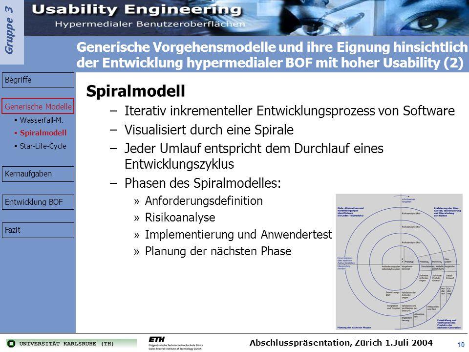 Gruppe 3 Abschlusspräsentation, Zürich 1.Juli 2004 10 Generische Vorgehensmodelle und ihre Eignung hinsichtlich der Entwicklung hypermedialer BOF mit