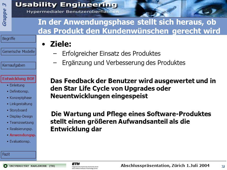 Gruppe 3 Abschlusspräsentation, Zürich 1.Juli 2004 32 In der Anwendungsphase stellt sich heraus, ob das Produkt den Kundenwünschen gerecht wird Ziele: