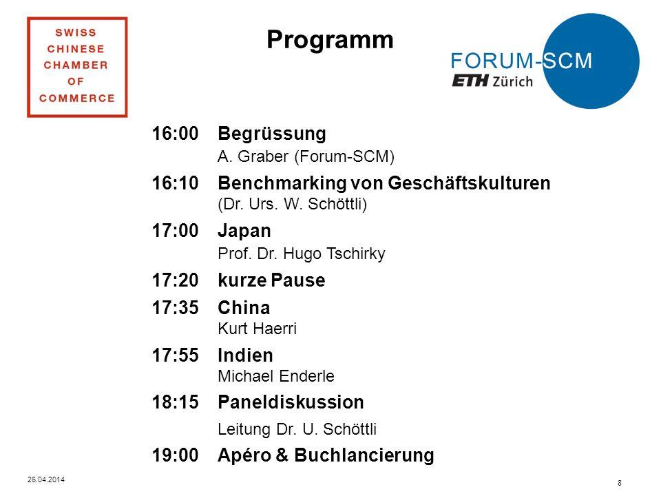 26.04.2014 8 Programm 16:00 Begrüssung A.