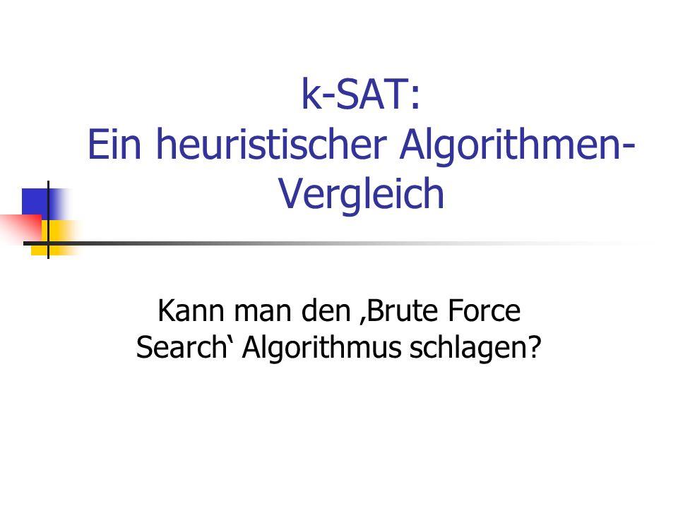 k-SAT: Ein heuristischer Algorithmen- Vergleich Kann man den Brute Force Search Algorithmus schlagen