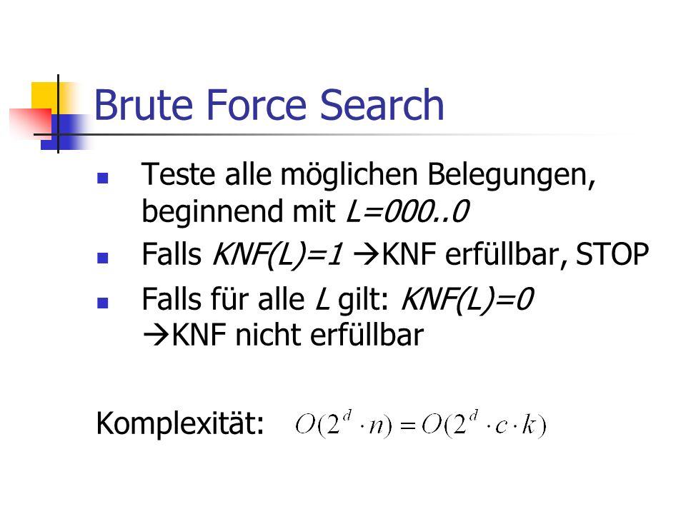 Brute Force Search Teste alle möglichen Belegungen, beginnend mit L=000..0 Falls KNF(L)=1 KNF erfüllbar, STOP Falls für alle L gilt: KNF(L)=0 KNF nicht erfüllbar Komplexität: