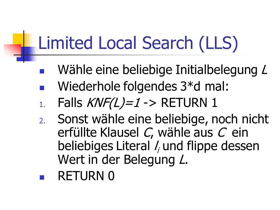 Limited Local Search (LLS) Wähle eine beliebige Initialbelegung L Wiederhole folgendes 3*d mal: 1.