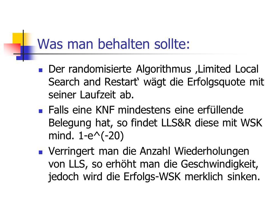 Was man behalten sollte: Der randomisierte Algorithmus Limited Local Search and Restart wägt die Erfolgsquote mit seiner Laufzeit ab. Falls eine KNF m
