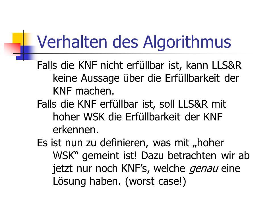 Verhalten des Algorithmus Falls die KNF nicht erfüllbar ist, kann LLS&R keine Aussage über die Erfüllbarkeit der KNF machen. Falls die KNF erfüllbar i