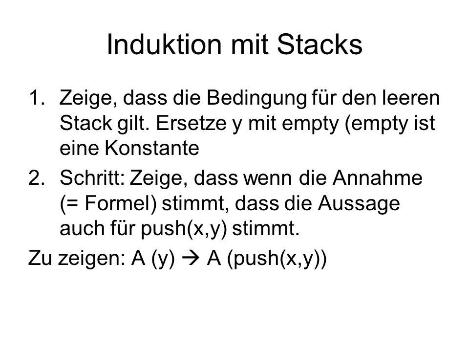 Induktion mit Stacks 1.Zeige, dass die Bedingung für den leeren Stack gilt.