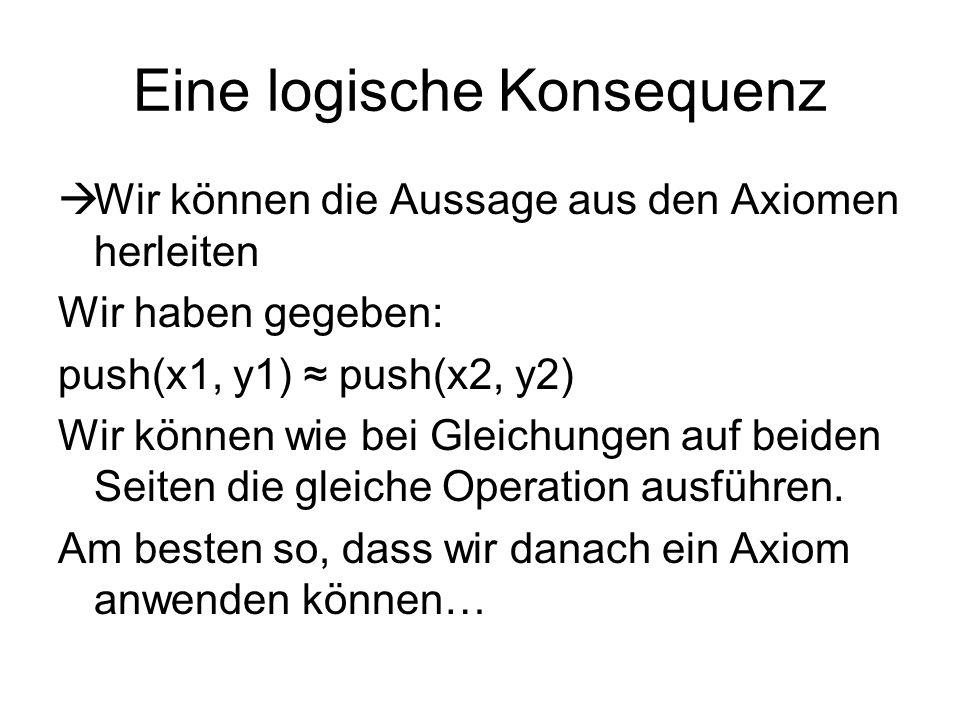 Eine logische Konsequenz Wir können die Aussage aus den Axiomen herleiten Wir haben gegeben: push(x1, y1) push(x2, y2) Wir können wie bei Gleichungen auf beiden Seiten die gleiche Operation ausführen.