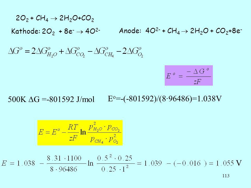 113 2O 2 + CH 4 2H 2 O+CO 2 Kathode: 2O 2 + 8e - 4O 2- Anode: 4O 2- + CH 4 2H 2 O + CO 2 +8e - 500K G =-801592 J/mol E o =-(-801592)/(8·96486)=1.038V