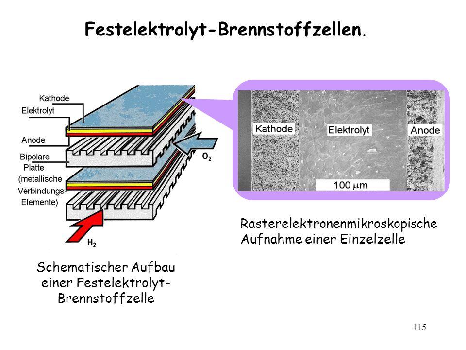 115 Festelektrolyt-Brennstoffzellen. Schematischer Aufbau einer Festelektrolyt- Brennstoffzelle Rasterelektronenmikroskopische Aufnahme einer Einzelze