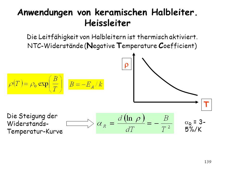 139 Anwendungen von keramischen Halbleiter. Heissleiter R = 3- 5%/K Die Leitfähigkeit von Halbleitern ist thermisch aktiviert. NTC-Widerstände ( N ega