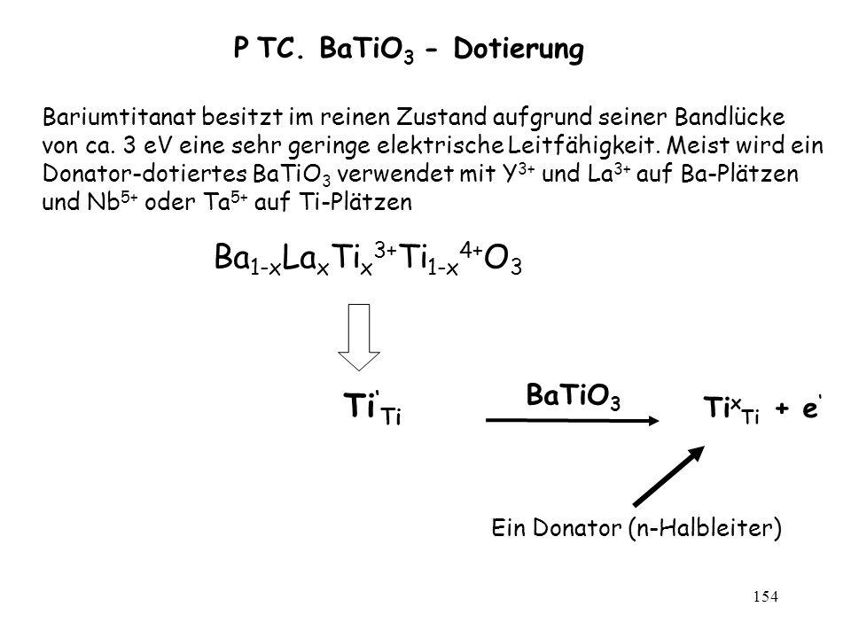 154 P TC. BaTiO 3 - Dotierung Bariumtitanat besitzt im reinen Zustand aufgrund seiner Bandlücke von ca. 3 eV eine sehr geringe elektrische Leitfähigke
