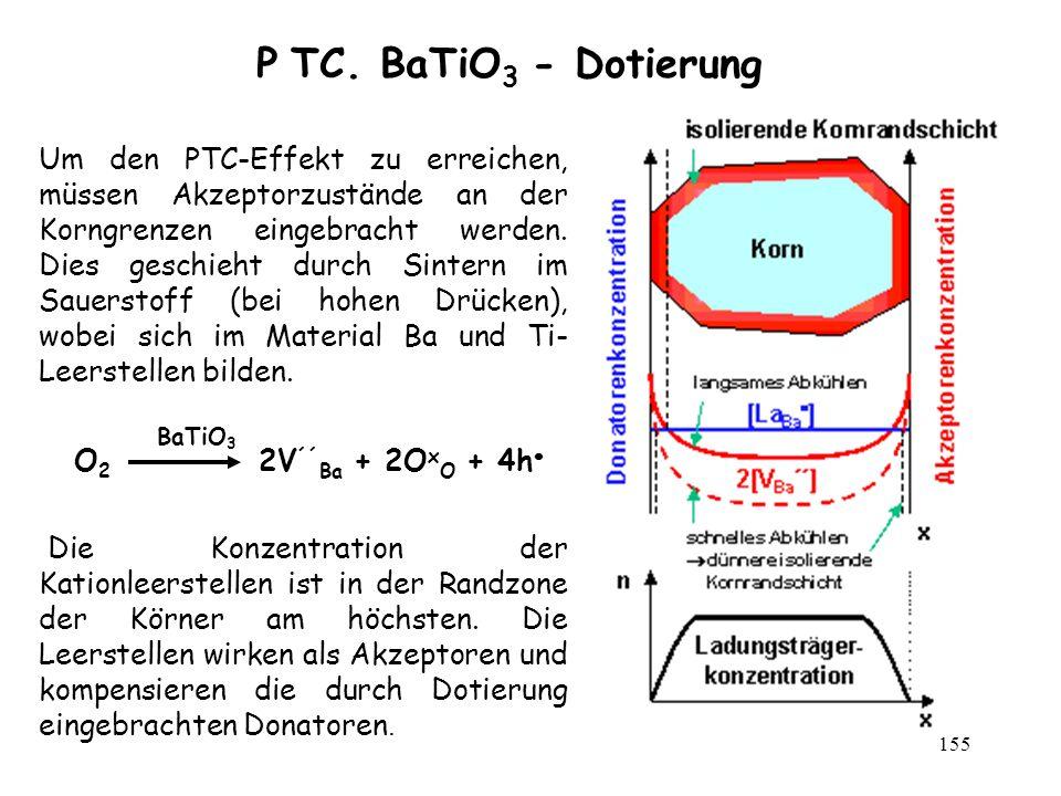 155 P TC. BaTiO 3 - Dotierung Um den PTC-Effekt zu erreichen, müssen Akzeptorzustände an der Korngrenzen eingebracht werden. Dies geschieht durch Sint