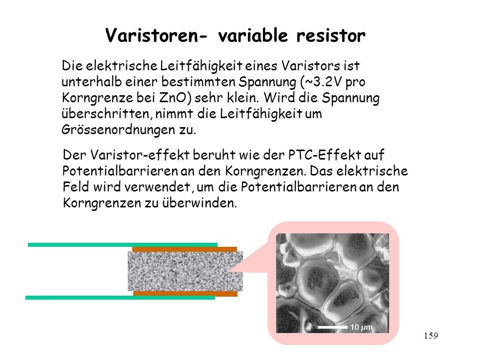 159 Varistoren- variable resistor Der Varistor-effekt beruht wie der PTC-Effekt auf Potentialbarrieren an den Korngrenzen. Das elektrische Feld wird v