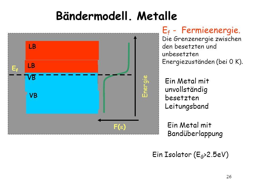 26 Bändermodell. Metalle F( ) Energie EfEf E f - Fermieenergie. Die Grenzenergie zwischen den besetzten und unbesetzten Energiezuständen (bei 0 K). VB