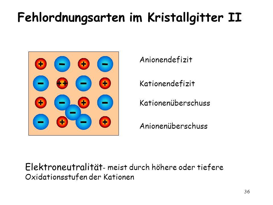 36 Fehlordnungsarten im Kristallgitter II Kationendefizit Anionendefizit Kationenüberschuss Anionenüberschuss Elektroneutralität - meist durch höhere