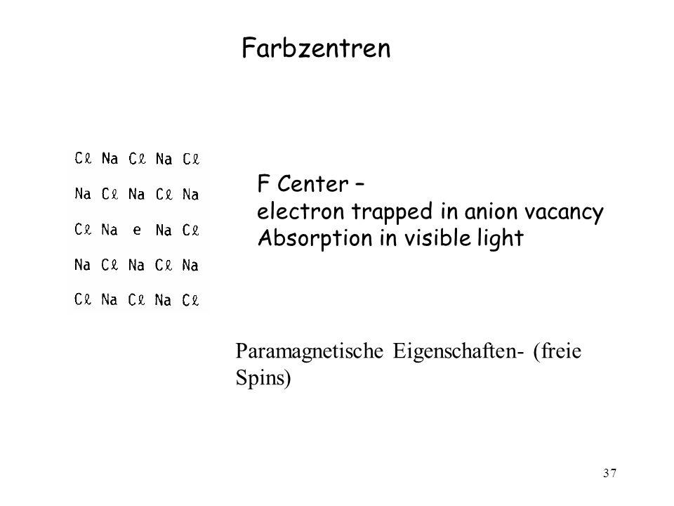 37 F Center – electron trapped in anion vacancy Absorption in visible light Farbzentren Paramagnetische Eigenschaften- (freie Spins)