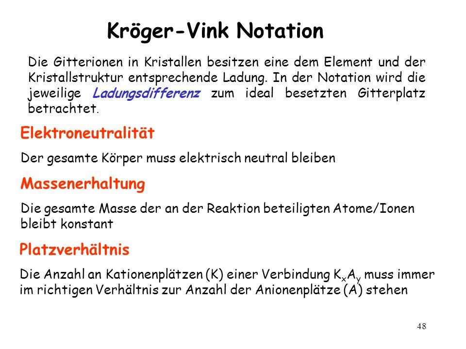 48 Kröger-Vink Notation Die Gitterionen in Kristallen besitzen eine dem Element und der Kristallstruktur entsprechende Ladung. In der Notation wird di