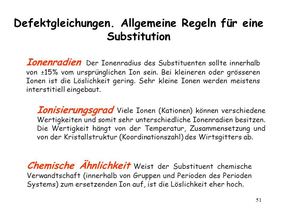 51 Defektgleichungen. Allgemeine Regeln für eine Substitution Ionenradien Der Ionenradius des Substituenten sollte innerhalb von 15% vom ursprüngliche