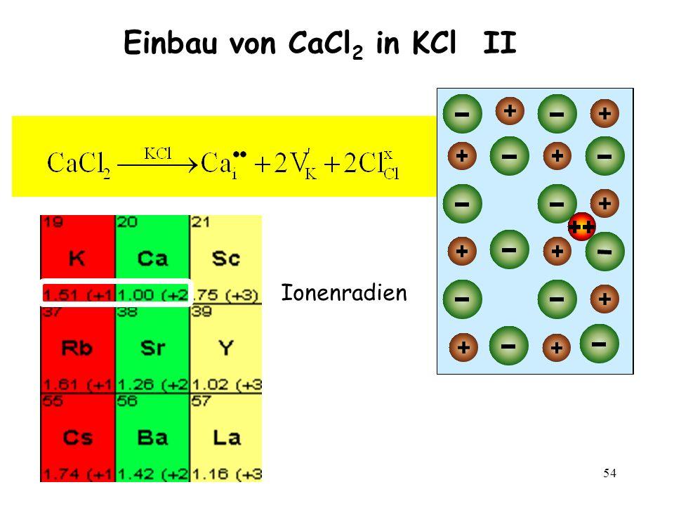54 Einbau von CaCl 2 in KCl II Ionenradien