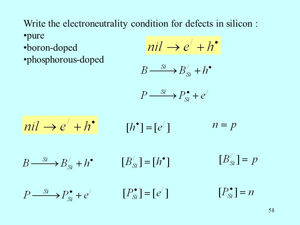 58 Write the electroneutrality condition for defects in silicon : pure boron-doped phosphorous-doped