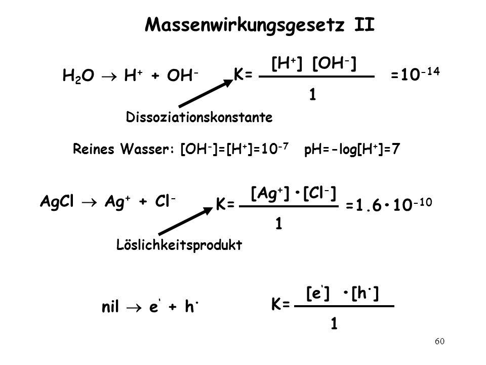 60 Massenwirkungsgesetz II H 2 O H + + OH - K= 1 [H + ][OH - ] =10 -14 Dissoziationskonstante Reines Wasser: [OH - ]=[H + ]=10 -7 pH=-log[H + ]=7 nil