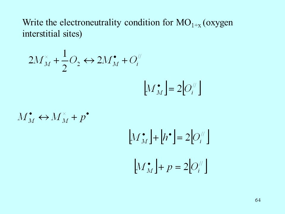 64 Write the electroneutrality condition for MO 1+x (oxygen interstitial sites)