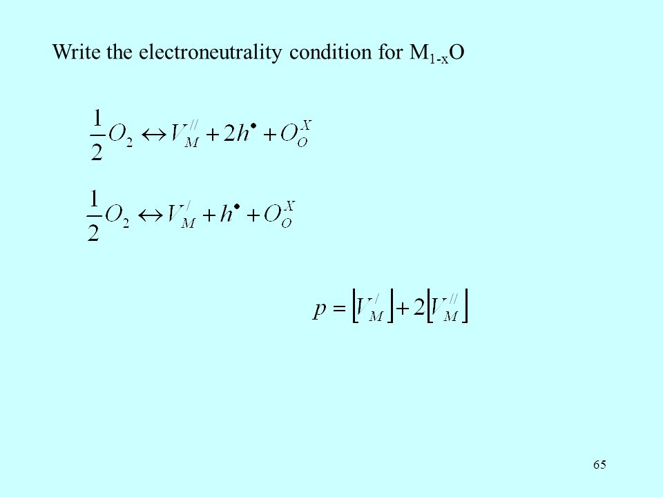 65 Write the electroneutrality condition for M 1-x O