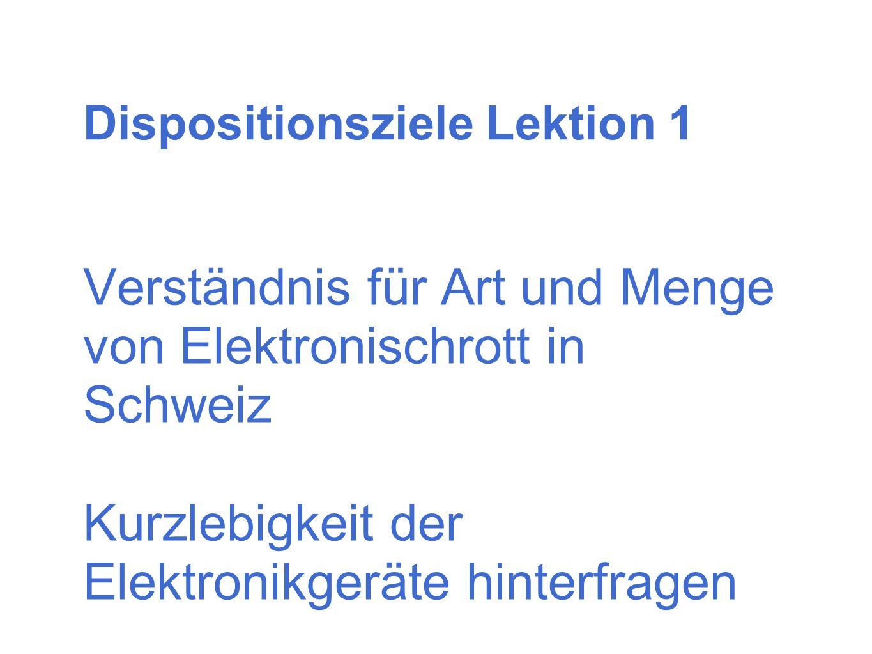 Dispositionsziele Lektion 1 Verständnis für Art und Menge von Elektronischrott in Schweiz Kurzlebigkeit der Elektronikgeräte hinterfragen