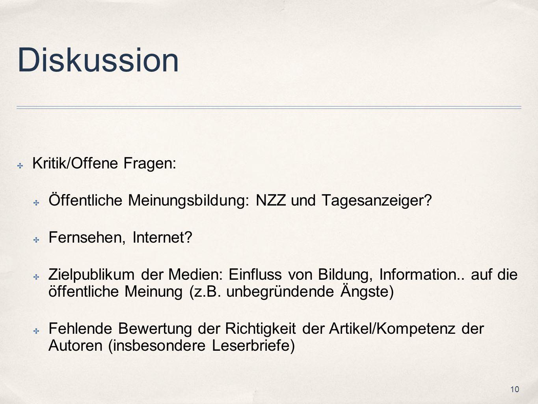 10 Diskussion Kritik/Offene Fragen: Öffentliche Meinungsbildung: NZZ und Tagesanzeiger? Fernsehen, Internet? Zielpublikum der Medien: Einfluss von Bil