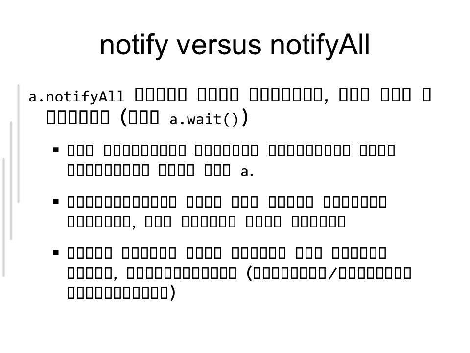 notify versus notifyAll a.notifyAll weckt alle Threads, die auf a warten ( via a.wait() ) Die geweckten Threads verlangen alle exlusiven Lock auf a.