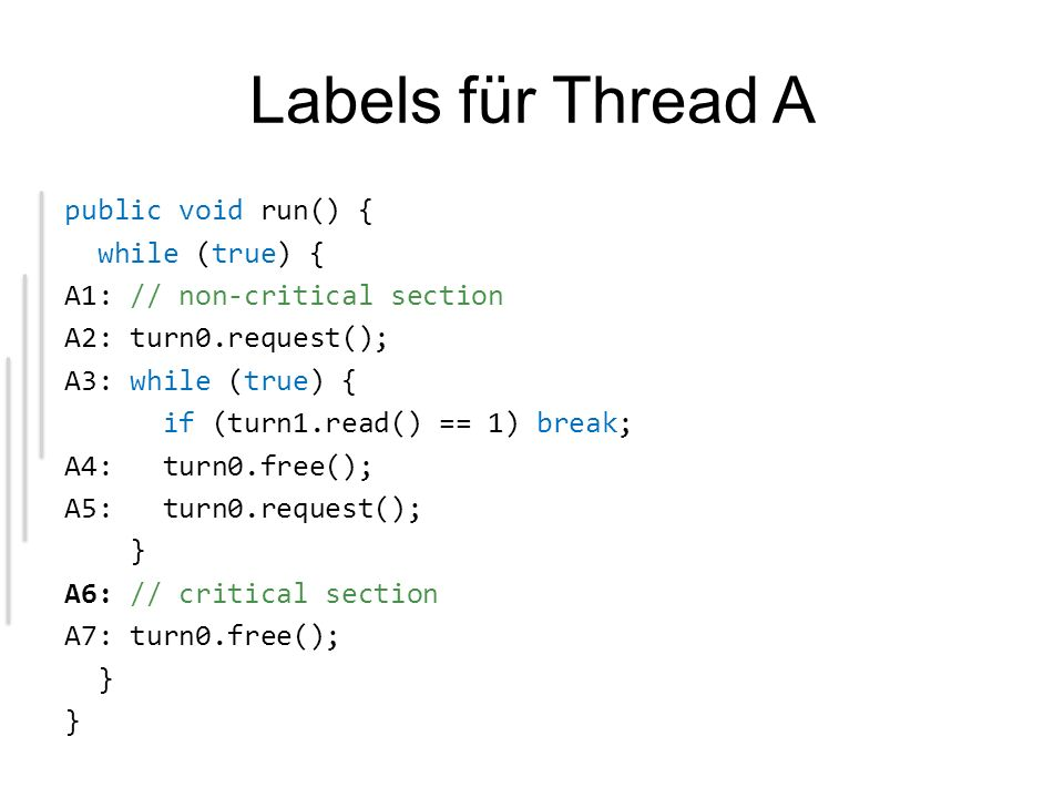 Labels für Thread A public void run() { while (true) { A1: // non-critical section A2: turn0.request(); A3: while (true) { if (turn1.read() == 1) brea